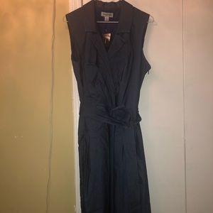 A stretch denim faux wrap dress with a belt.